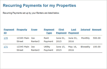Collect Rent Online with One-time and Recurring Payments Screenshot: Recurring Payment