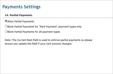 Screenshot: Partial Payment
