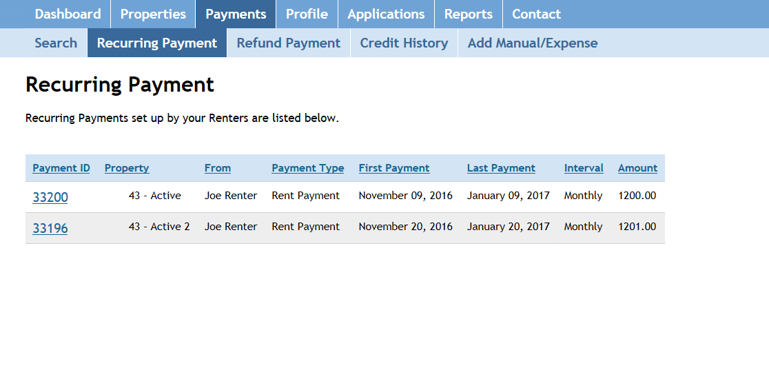 Screenshot: Recurring Payment