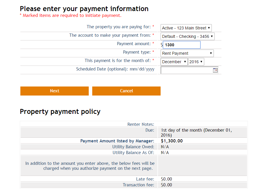 Screenshot: One-Time Payment