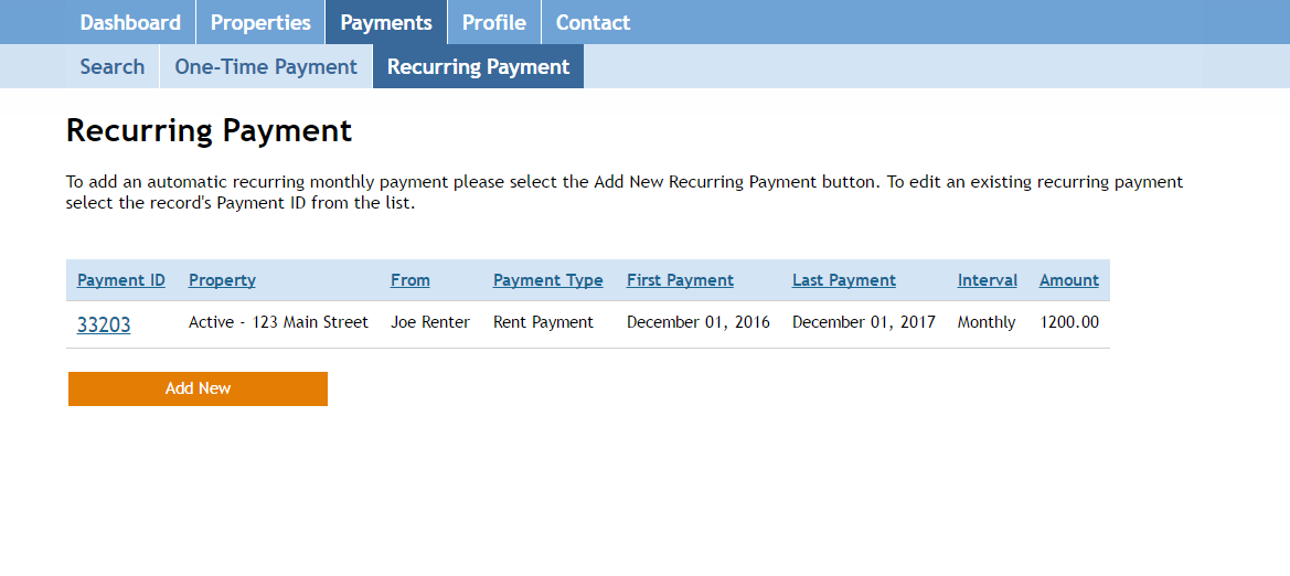 Screenshot: Renter Recurring Payments
